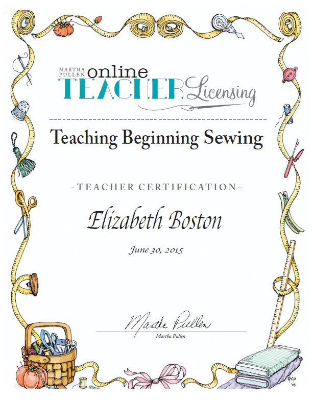 Beginning Sewing Certificate