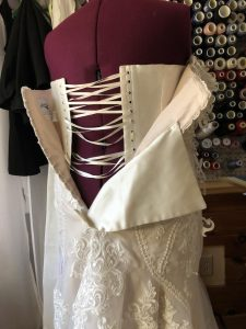 A corset added to the inside of wedding dress